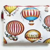Large Waterproof bag, Hot air balloon, vintage circus, eco vinyl, wipe clean.