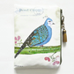 Waterproof wallet, antique postcard, woodland bird, eco vinyl bag, wipe clean.