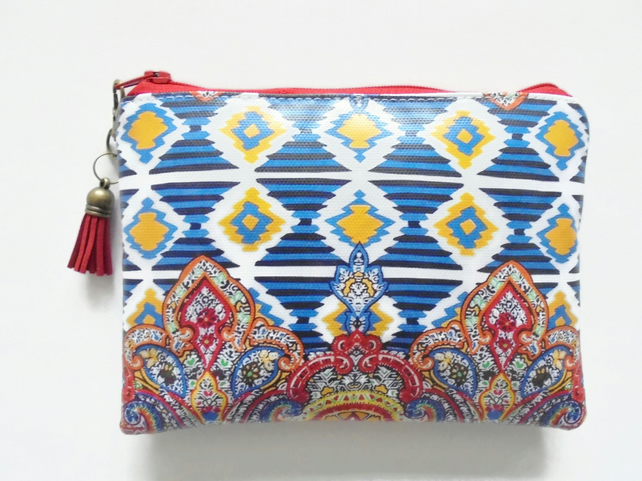 Ethnic Ikat waterproof pouch, girlfiend gift, wipe clean wallet.