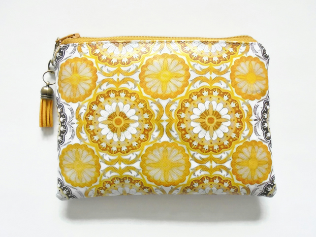 Zesty, retro feel, waterproof pouch, girlfriend gift, wipe clean wallet.
