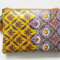 Purple and Yellow Floral Waterproof pouch, wipe clean wallet, waterproof purse.