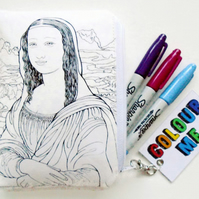 Colour-In  Mona Lisa doodle wallet