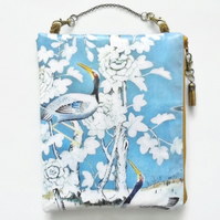 Waterproof Chinoiserie hanging bag, eco vinyl, oilcloth pouch, zipper pouch.