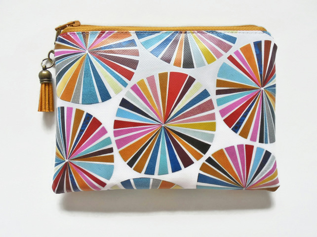 Waterproof eco vinyl wallet, colour wheel, oilcloth pouch, wipe clean bag.