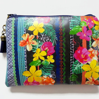 Tropical jungle waterproof Wallet, eco vinyl bag, oilcloth pouch, wipe clean.