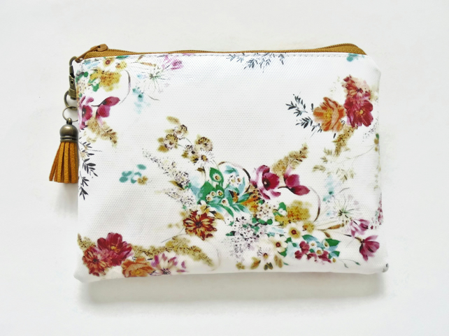 Waterproof Floral pouch, eco vinyl wallet, oilcloth bag, wipe clean bag.