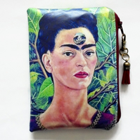 Frida Kahlo Waterproof wallet, oilcloth pouch, eco vinyl purse, wipe clean bag.