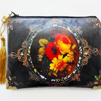 Antiquated floral waterproof pouch, Black and Gold Waterproof Ladies Wallet.