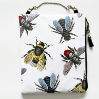 Large waterproof hanging cosmetic bag, bees, queen bees, vintage bees, oilcloth