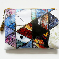 Waterproof Pouch, Rusty Art, Rust Abstract, eco vinyl bag, wipe clean wallet.
