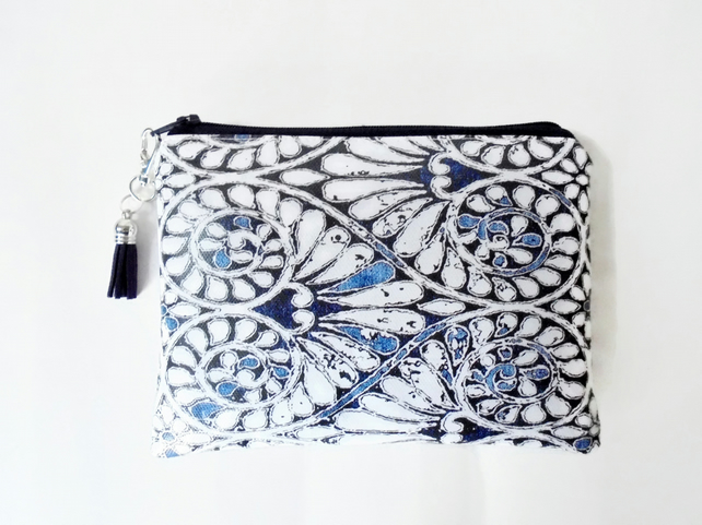 Indigo wallet, waterproof pouch, wipe clean wallet, oilcloth purse.