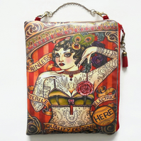 Waterproof Tattoed Lady hanging bag, eco vinyl, oilcloth hanging pouch