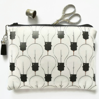 Waterproof pouch, lightbulbs print, zipper bag, vegan leather wallet, eco vinyl.