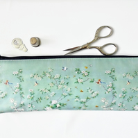 Waterproof Pencil Case, Chinoiserie print, vegan leather, humming birds, cherry