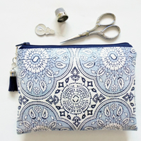 Waterproof Pouch, eco vinyl bag, wipe clean wallet, ornate print, antique style.