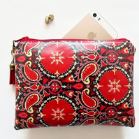 Waterproof Pouch, eco vinyl bag, wipe clean wallet, pailsey print, red paisley.