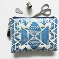 Waterproof Pouch, eco vinyl bag, wipe clean wallet, navajo, aztec.