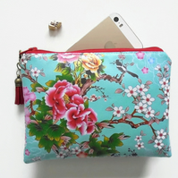 Waterproof Pouch, eco vinyl bag, humming birds, cherry blossoms