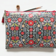 Waterproof zipper folky toiletry bag, folk flowers  make-up pouch, eco friendly,