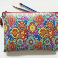 Waterproof zipper Indian print, toiletry bag, colourful make-up pouch, eco.