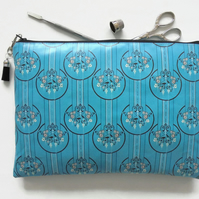 Waterproof art deco print, turquoise,  toiletry bag, make-up pouch, eco friendly