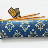 Waterproof Pencil Case, Victorian inspired print, Kingfisher blue, vegan leather