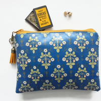 Waterproof wallet, Victorian inspired print, Kingfisher blue, vegan leather, eco