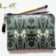 Waterproof wallet, Victorian inspired print, greenery, vegan leather, eco gift,