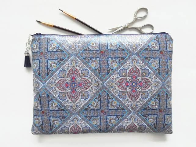 Waterproof Paisley patterned,  navy,  scarf inspired,  toiletry bag, make-up bag