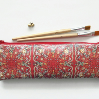 Waterproof Pencil Case, Russian scarf inspired print, vegan leather, brush bag,