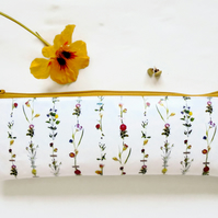 Waterproof Pencil Case, Botanical inspired print, flower stems, vegan leather.