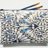 Large waterproof Pouch, Indigo print, cometics bag, travel bag, toiletry bag.