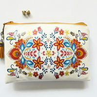 Waterproof wallet, Folk Flowers, folky pouch, oilcloth bag, zipper bag.