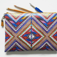 Eco Waterproof zipper toiletry bag, travel bag, navajo make-up pouch, Aztec.