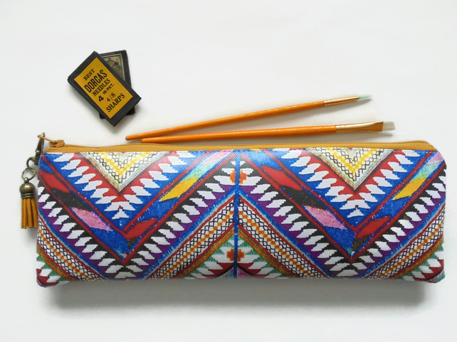 Waterproof eco Pencil Case, aztec, navajo,  brush bag, crochet storage, vegan.