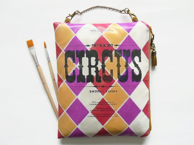 Large Waterproof pouch, eco friendly Vintage Circus, brushes bag, tools bag, han