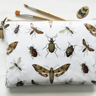 Waterproof zipper toiletry bag, insects, bugs, moths,  make-up pouch, eco
