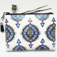 islamic inspired waterproof wallet, eco gift, vegan wallet, zipper pouch.