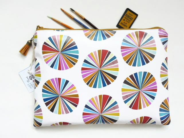 Eco wash bag, travel bag, toiletries bag, colour wheel, colourful pouch, zipper