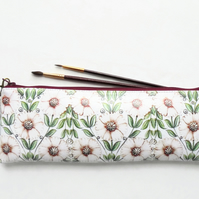 Waterproof Pencil Case, Berry, pink daisies, pencil bag,  brush bag.