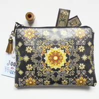 eco gift, black and gold, ornate wallet, waterproof zipper, vegan gift, zipper p