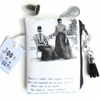 Waterproof credit card sized wallet, edward gorey humour, business card holder .