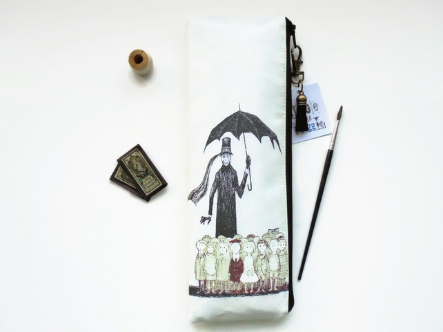 Waterproof Pencil Case, Victorian gothic inspired print, Edward gorey, vegan