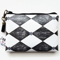 Harlequin,jester,circus,diamond,eco wallet,green gifts,black  & white,monochrome