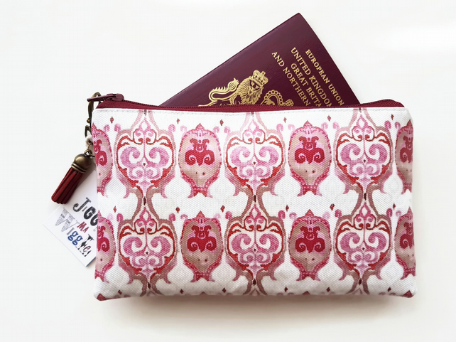 Travel Gifts, Waterproof Wallet,pink ikat,passport gift set,eco,green gift,