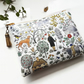 Woodland fabric,Farm animal fabric,waterproof bag,eco friendly,wallet women.