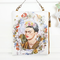 Hanging Oilcloth Bag,Frida Khalo,hanging storage,vegan bag,eco friendly pouch.