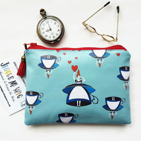alice in wonderland,oilcloth wallet,eco friendly purse,adventures on wonderland