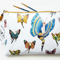 Butterlfy Oilcloth,Vegan Pouch,Eco friendly gift,Waterproof cosmetic bag