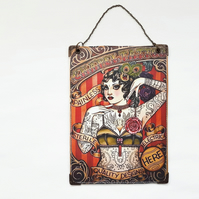 Reversible Hanging Sign,Vinyl art,Wall Art,Tattoo Lady,vintage tattoo,tattooed
